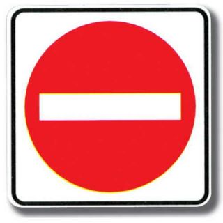 White square or rectangular signs with white, red, or black letters