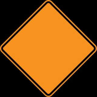 A sign with an orange background and black letters indicate